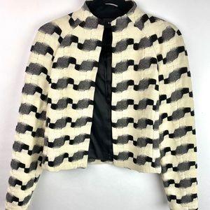 Akris cream and black open style blazer